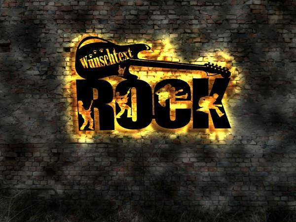 3D LED Deko Rock and Roll Gitarre Wandbild aus Holz