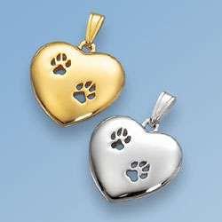Anhänger Herz mit zwei durchbrochenen Hundepfoten