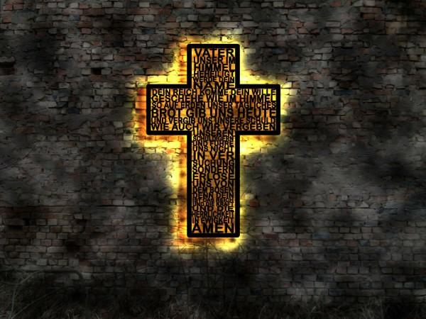 Kreuz 3D-Wandbild Vater Unser aus Holz mit LED beleuchtet