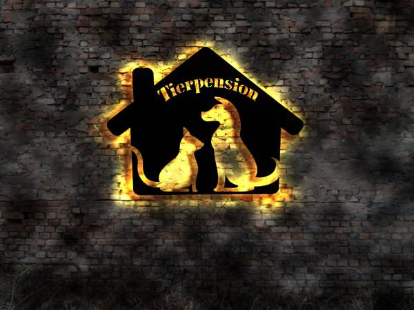 Hunde Tierpension 3D Wanddeko aus Holz mit LED Licht