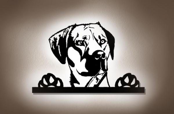 3D-Wandbild aus Holz mit LED Leuchte nach Ihrem Hunde Foto