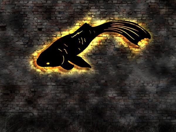 Koi-Fisch 3D Wandbild aus Holz mit LED Licht