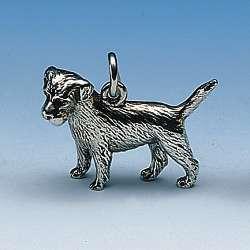 Anhänger oder Zierfigur Border Terrier in Gold und Silber