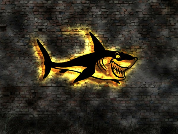 Haifisch 3D-Wandbild aus Holz mit LED Licht