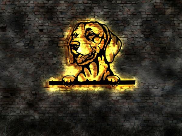 Magyar Vizsla 3D-Effekt Wandbild aus Holz mit LED Leuchte