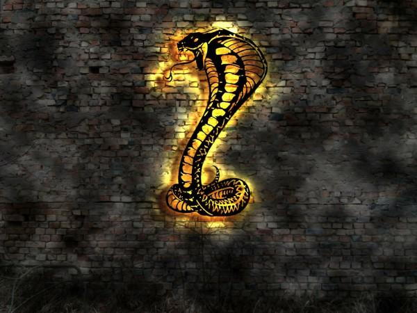 Cobra-Schlange 3D Wanddekoration aus Holz mit LED Licht