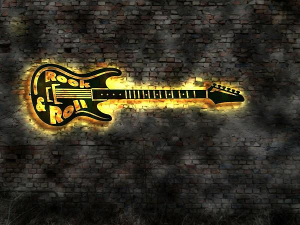 Gitarre 3D-Wandbild aus Holz mit LED mit Wunschtext