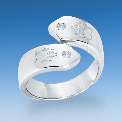 Exclusiver Ring in neuem Design mit Hundepfoten und zwei Zirkonia