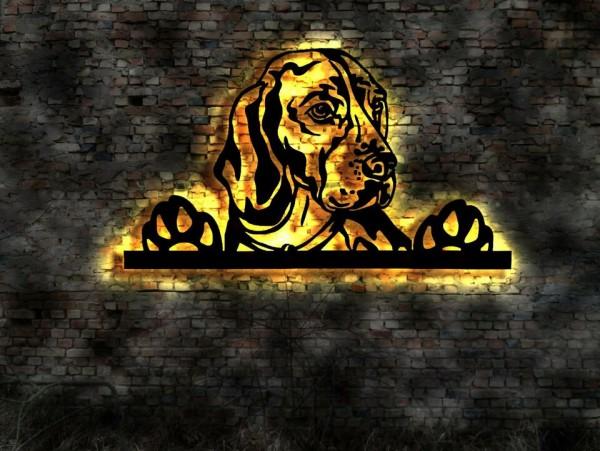 Beagle Wandbild 3 D aus Holz mit LED Licht