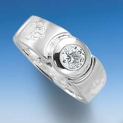 Moderner Ring breit mit Hundepfoten mit funkelndem Zirkonia